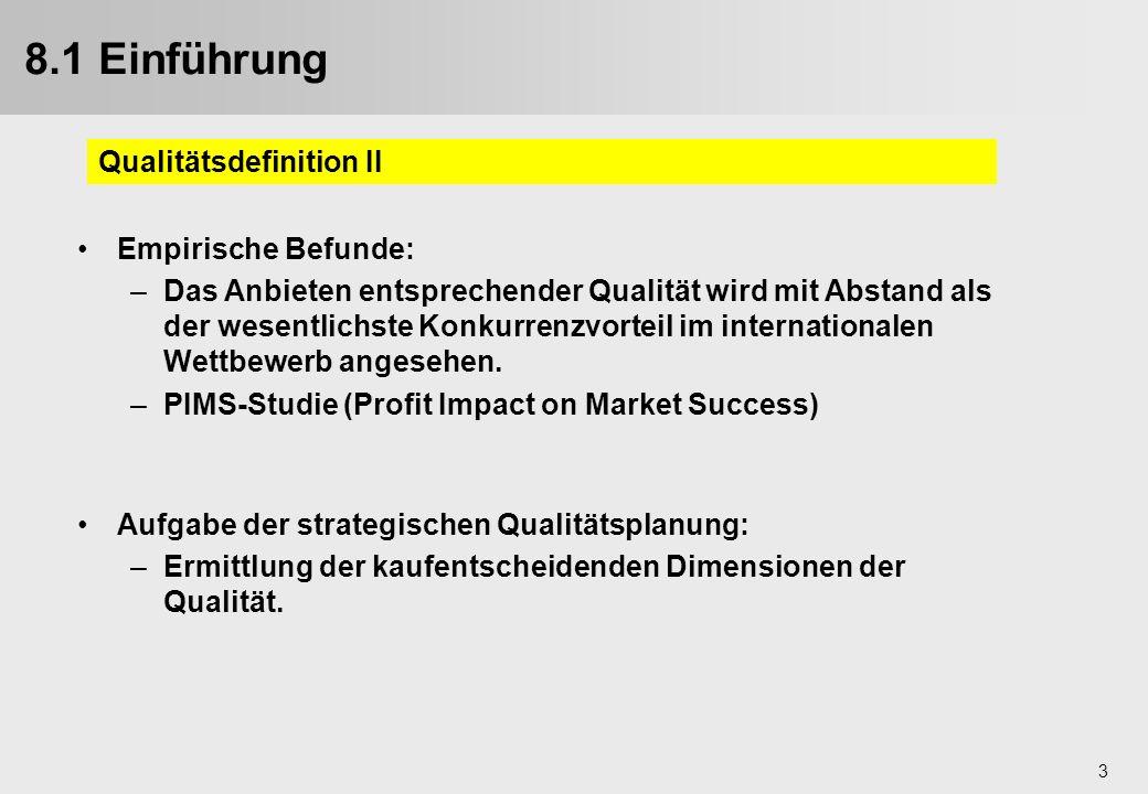 8.1 Einführung Qualitätsdefinition II Empirische Befunde: