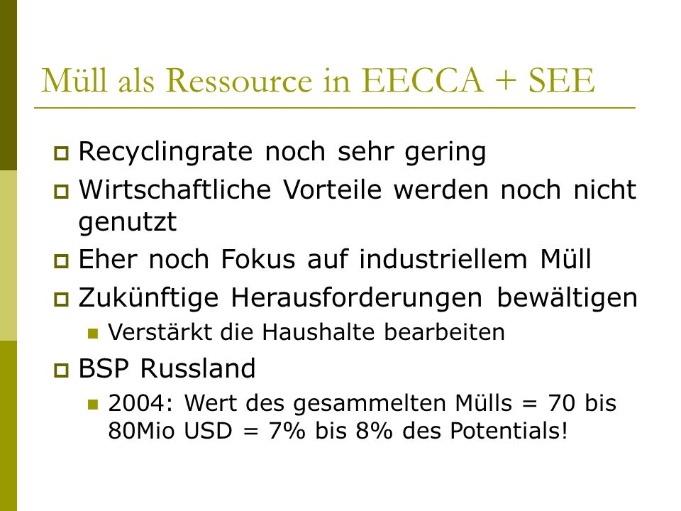 Müll als Ressource in EECCA + SEE