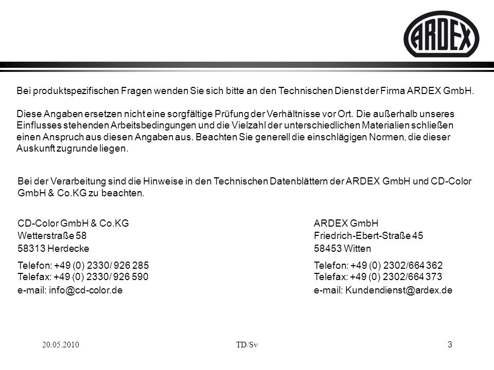 CD-Color GmbH & Co.KG ARDEX GmbH
