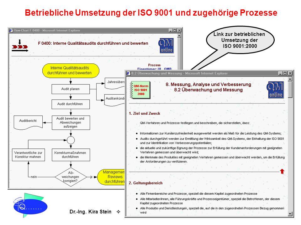 Betriebliche Umsetzung der ISO 9001 und zugehörige Prozesse
