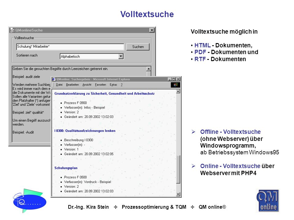 Volltextsuche Volltextsuche möglich in HTML - Dokumenten,