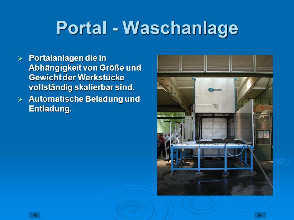 Portal - Waschanlage Portalanlagen die in Abhängigkeit von Größe und Gewicht der Werkstücke vollständig skalierbar sind.