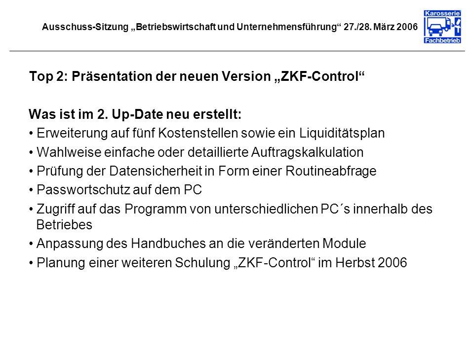 """Top 2: Präsentation der neuen Version """"ZKF-Control"""