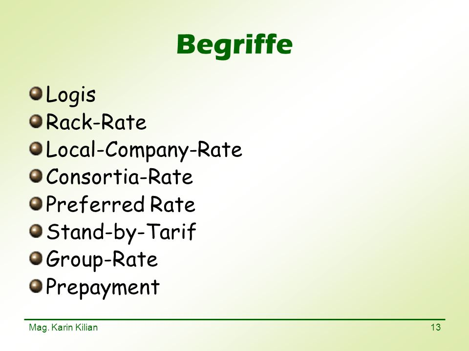 Begriffe Logis Rack-Rate Local-Company-Rate Consortia-Rate