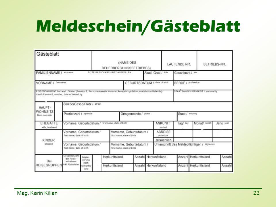 Meldeschein/Gästeblatt