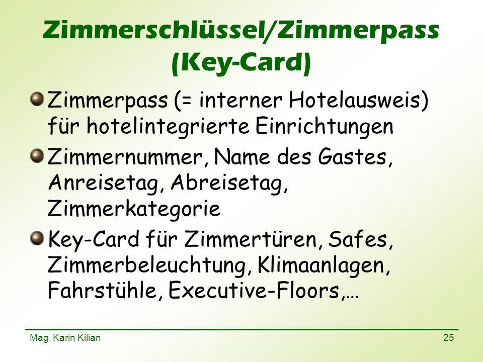 Zimmerschlüssel/Zimmerpass (Key-Card)