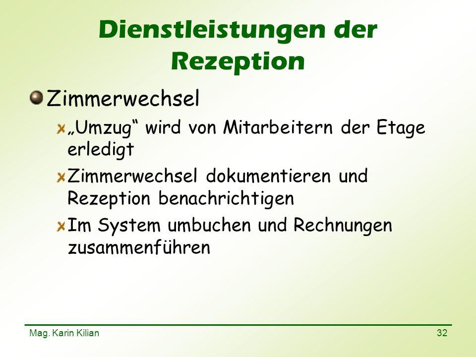 Dienstleistungen der Rezeption