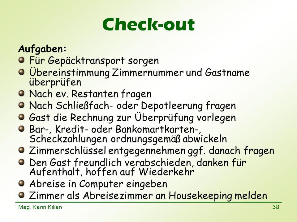 Check-out Aufgaben: Für Gepäcktransport sorgen