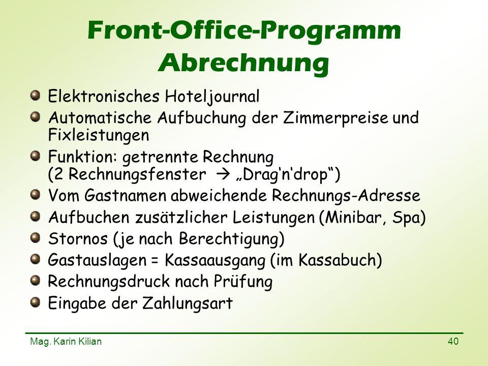 Front-Office-Programm Abrechnung