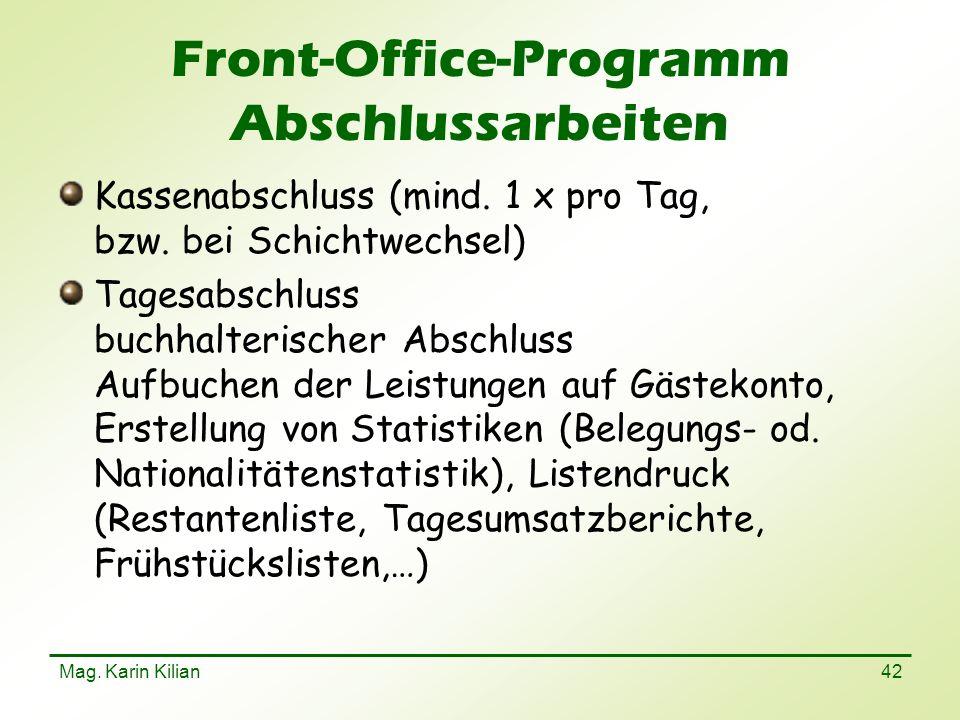 Front-Office-Programm Abschlussarbeiten