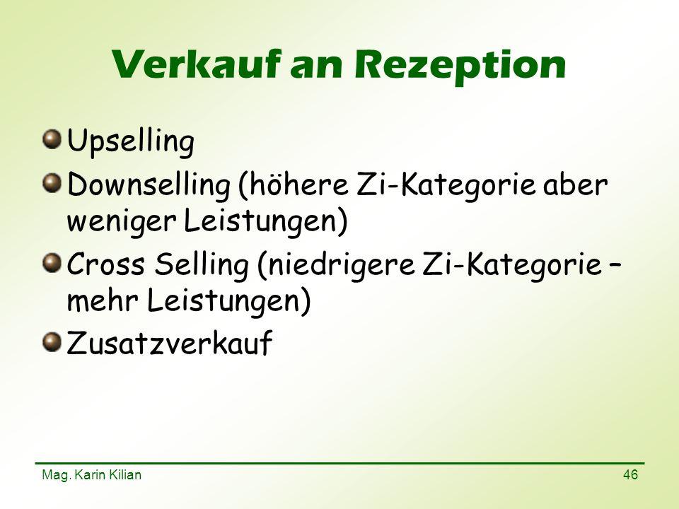Verkauf an Rezeption Upselling
