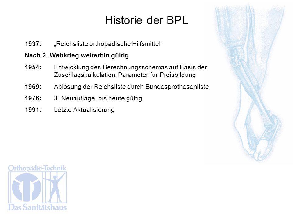 """Historie der BPL 1937: """"Reichsliste orthopädische Hilfsmittel"""