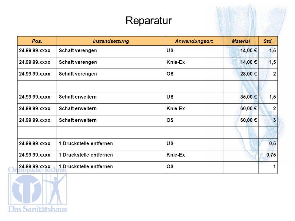 Reparatur Pos. Instandsetzung Anwendungsort Material Std.