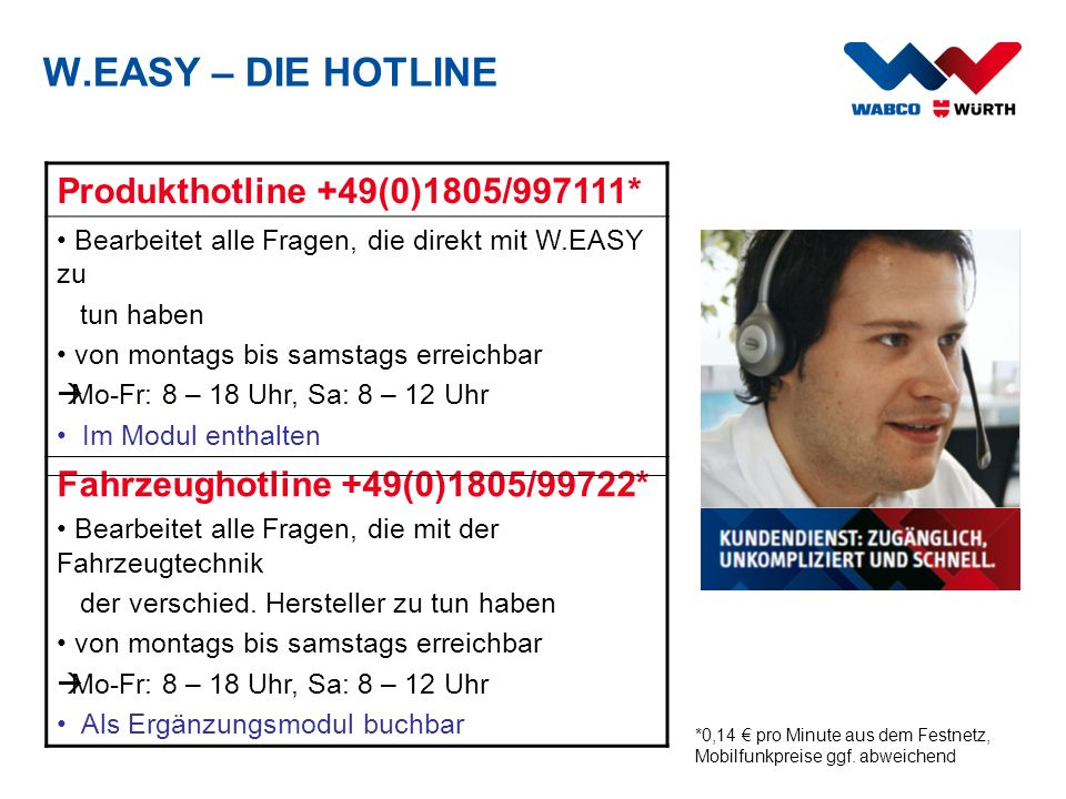 W.EASY – DIE HOTLINE Produkthotline +49(0)1805/997111*