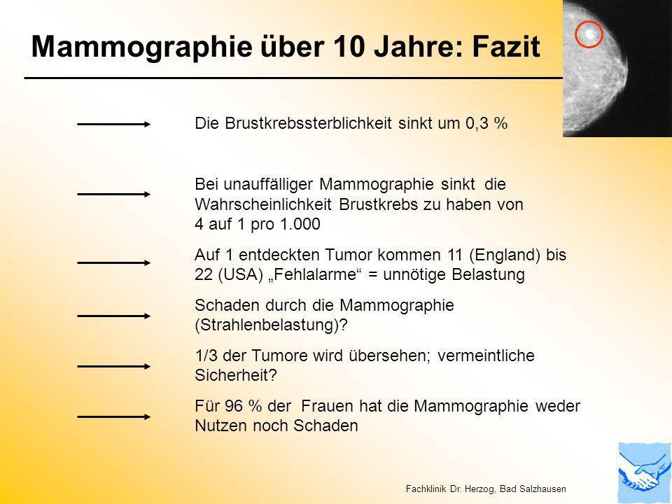 Mammographie über 10 Jahre: Fazit