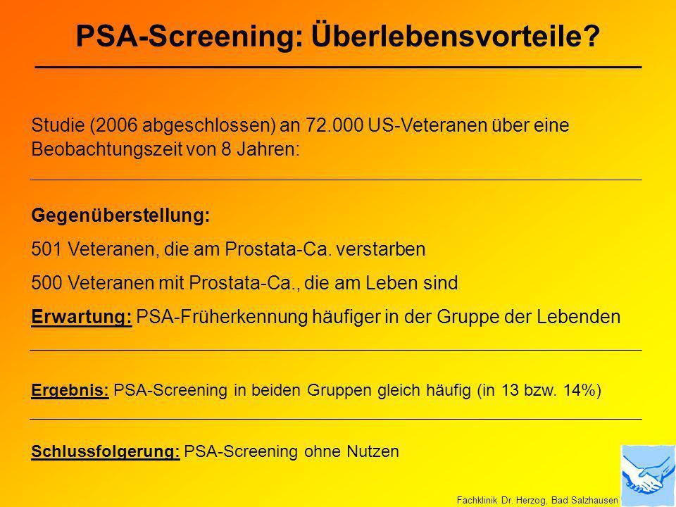 PSA-Screening: Überlebensvorteile