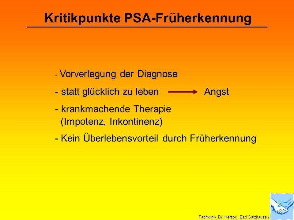 Kritikpunkte PSA-Früherkennung