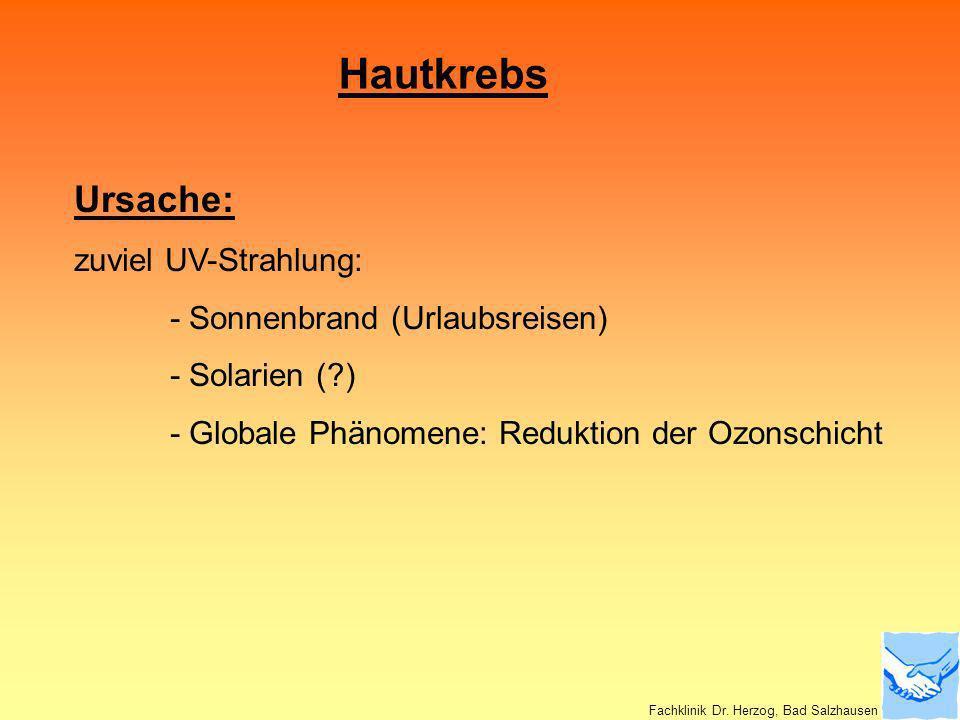 Hautkrebs Ursache: zuviel UV-Strahlung: - Sonnenbrand (Urlaubsreisen)