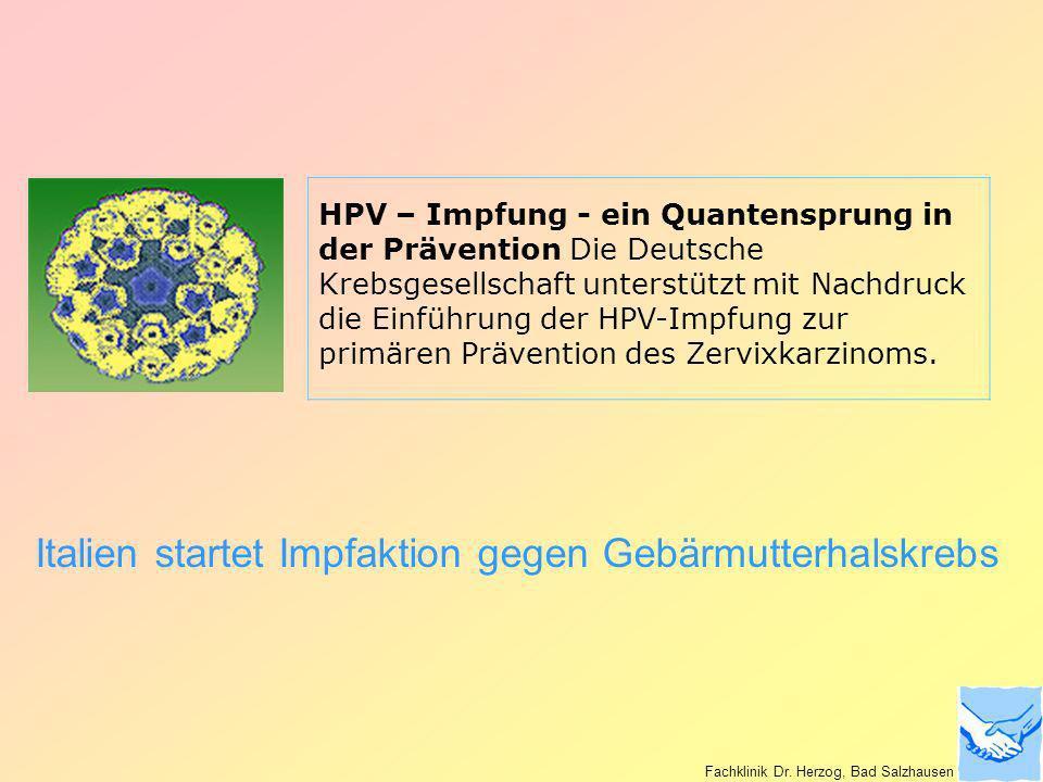 Italien startet Impfaktion gegen Gebärmutterhalskrebs