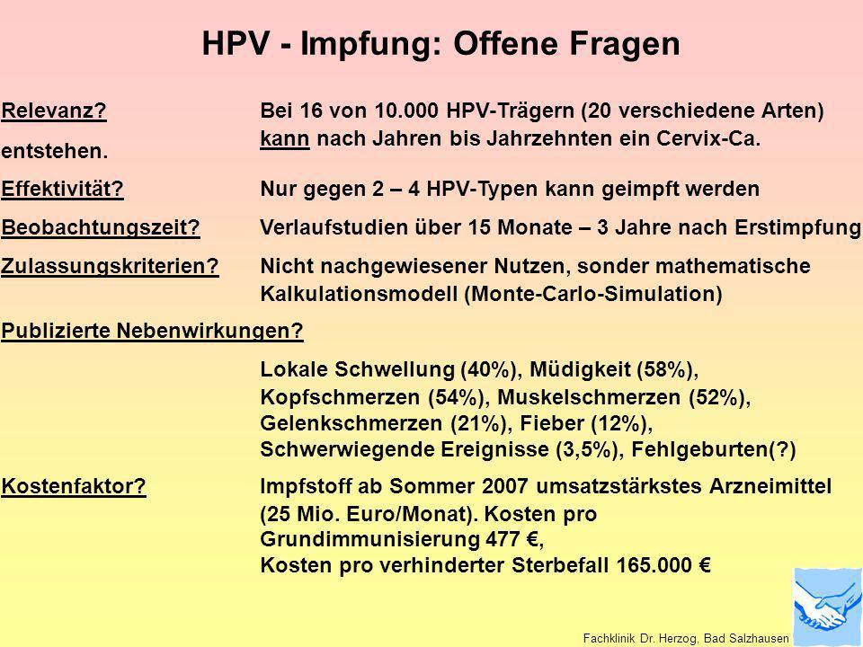 HPV - Impfung: Offene Fragen