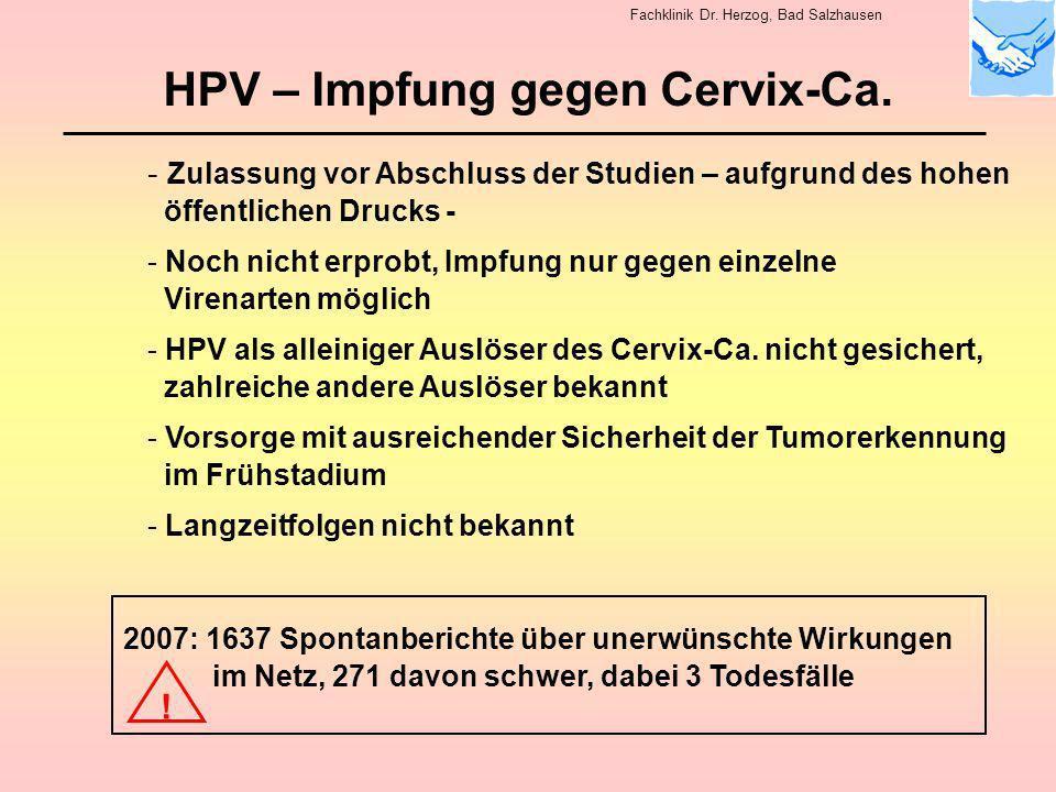 HPV – Impfung gegen Cervix-Ca.