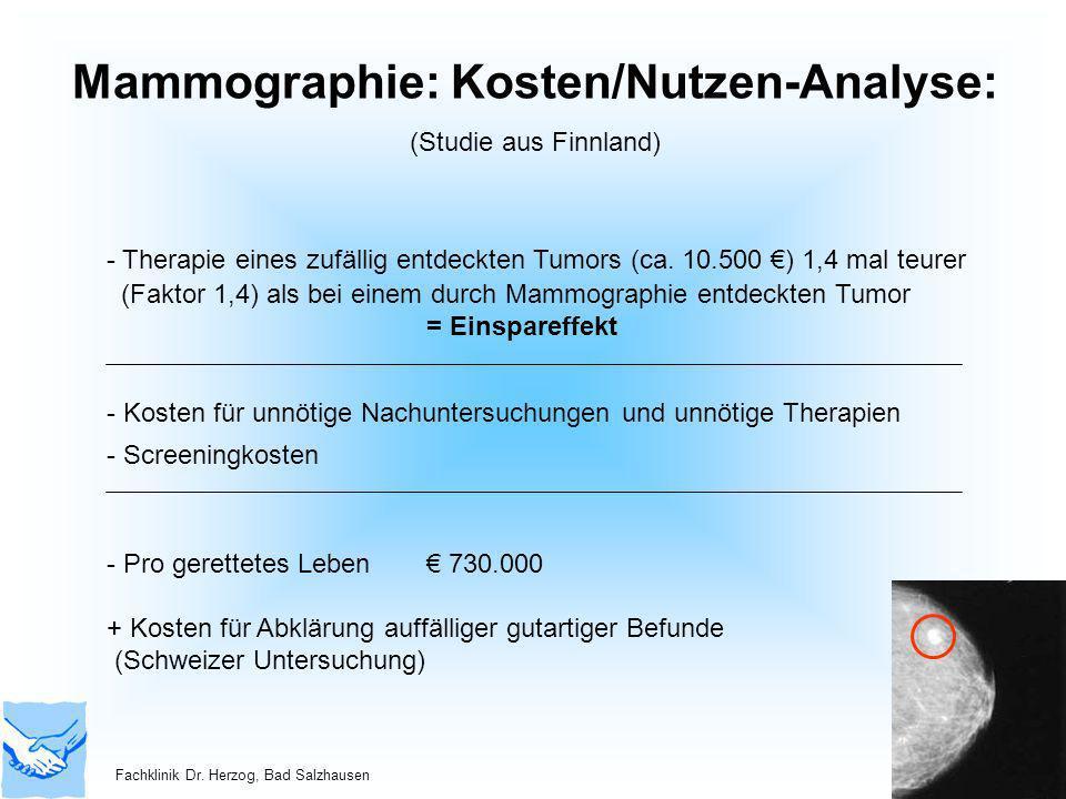 Mammographie: Kosten/Nutzen-Analyse: