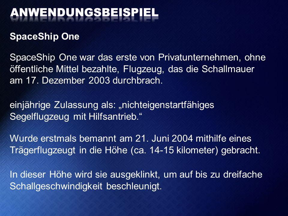 Anwendungsbeispiel SpaceShip One