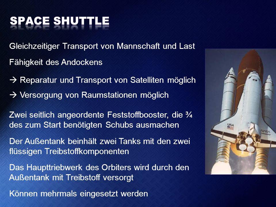 Space Shuttle Gleichzeitiger Transport von Mannschaft und Last