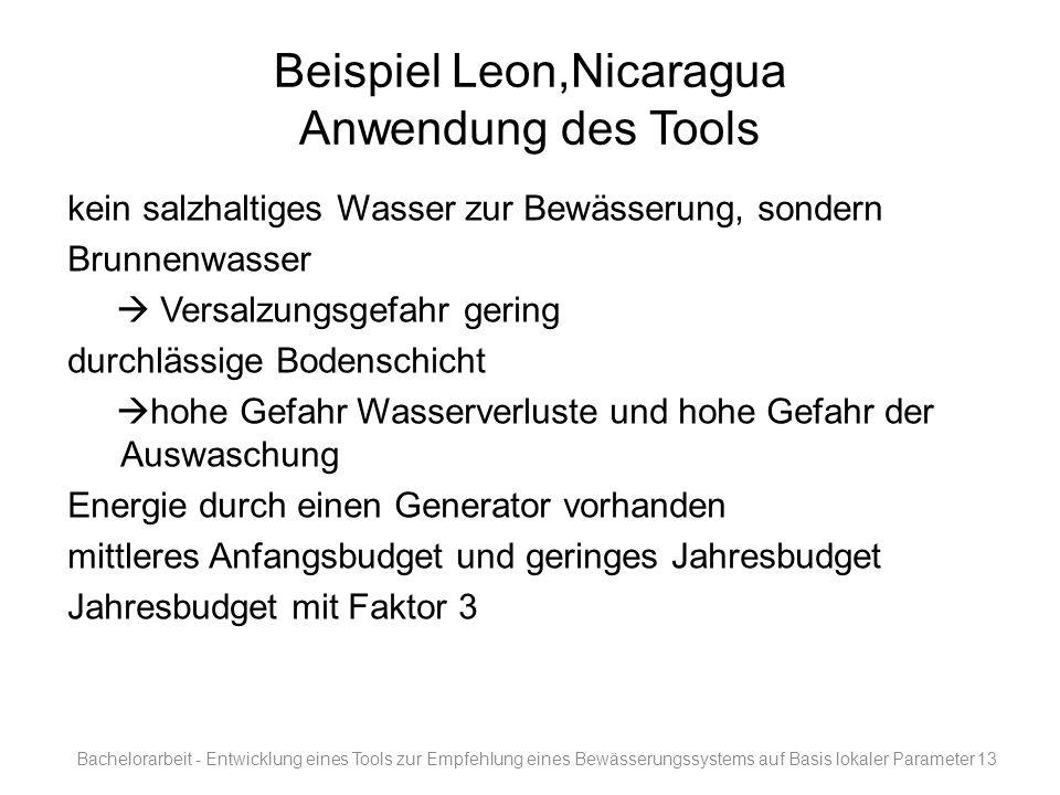 Beispiel Leon,Nicaragua Anwendung des Tools