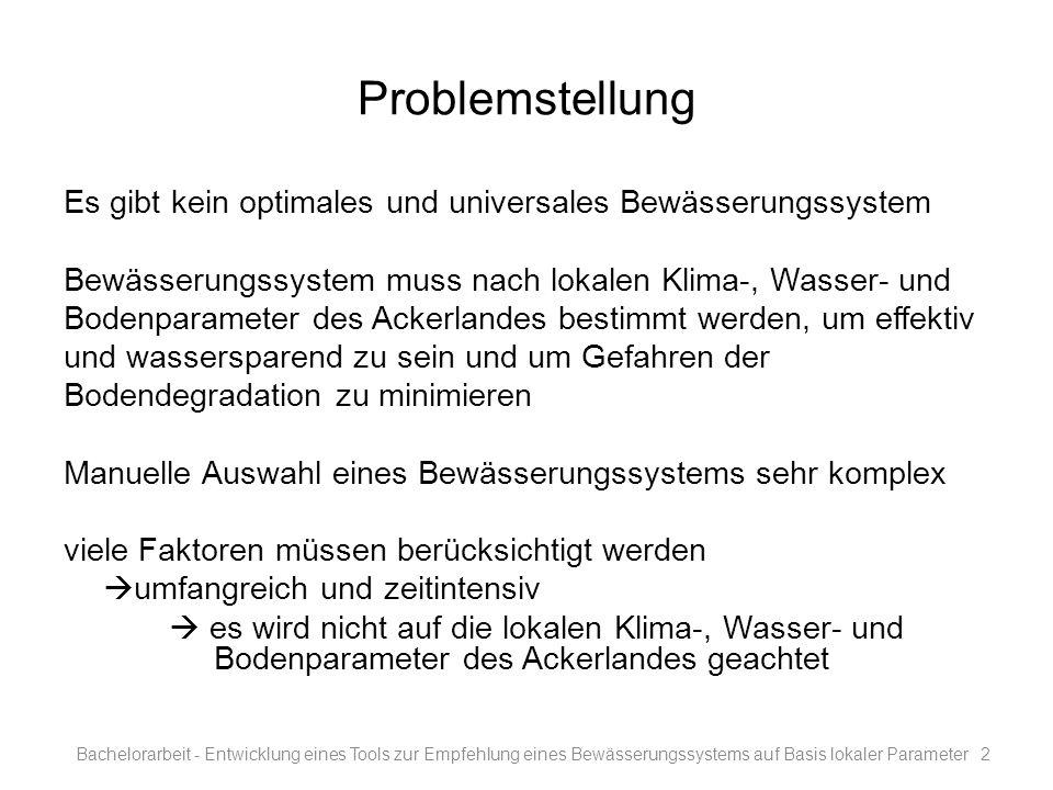 Problemstellung Es gibt kein optimales und universales Bewässerungssystem. Bewässerungssystem muss nach lokalen Klima-, Wasser- und.