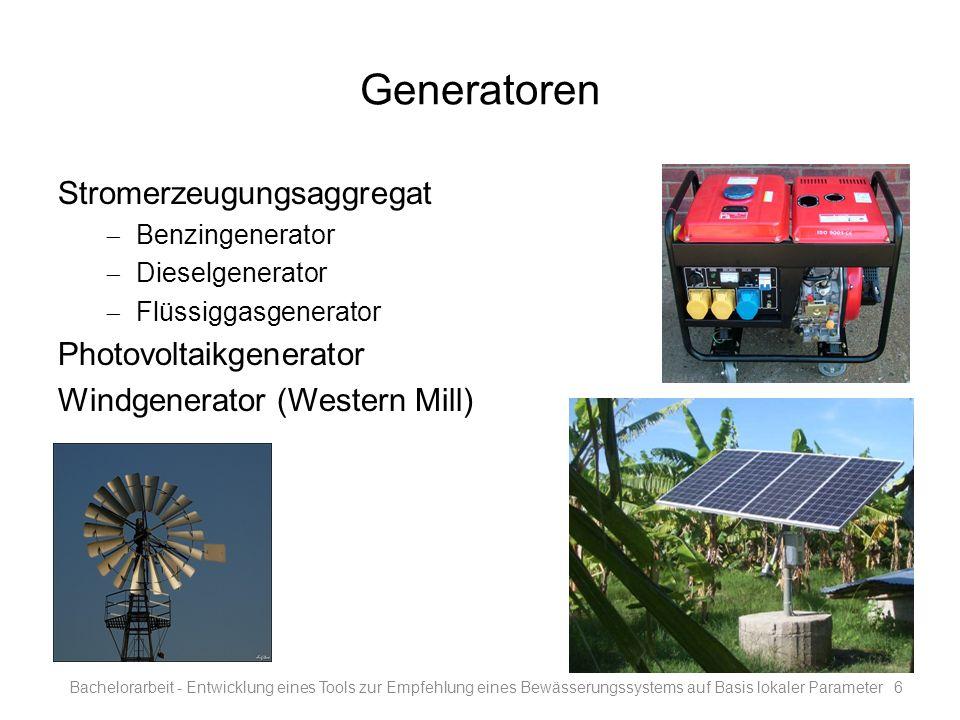 Generatoren Stromerzeugungsaggregat Photovoltaikgenerator