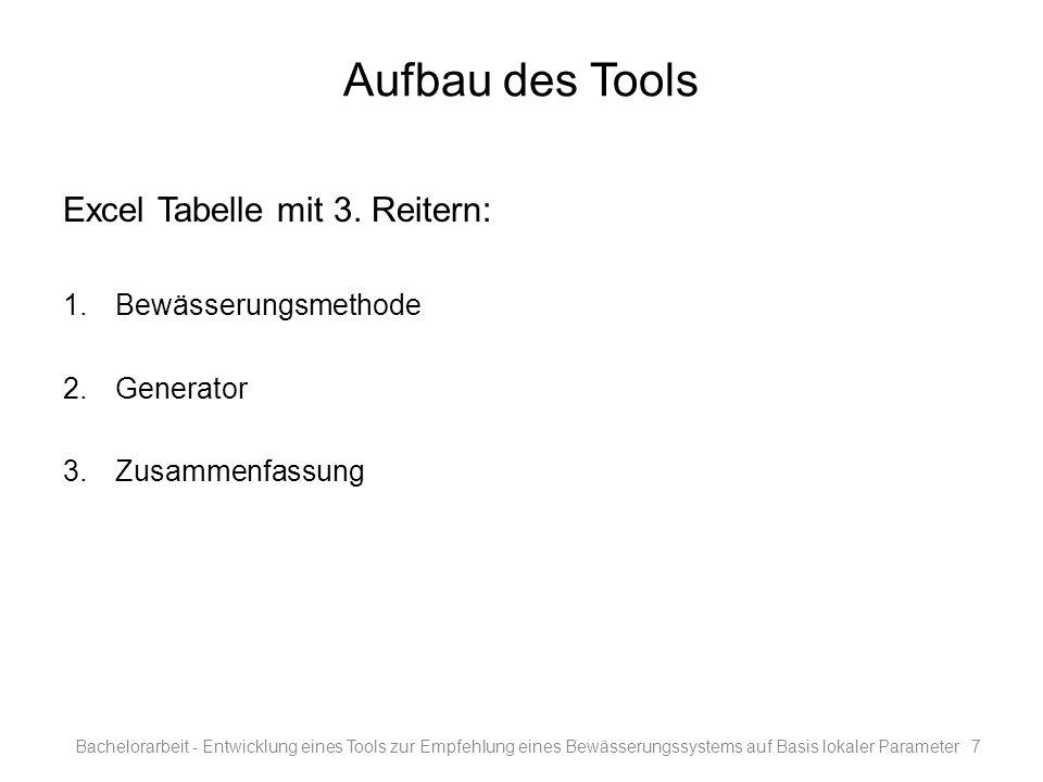 Aufbau des Tools Excel Tabelle mit 3. Reitern: Bewässerungsmethode