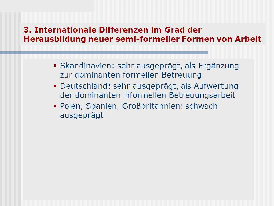 3. Internationale Differenzen im Grad der Herausbildung neuer semi-formeller Formen von Arbeit