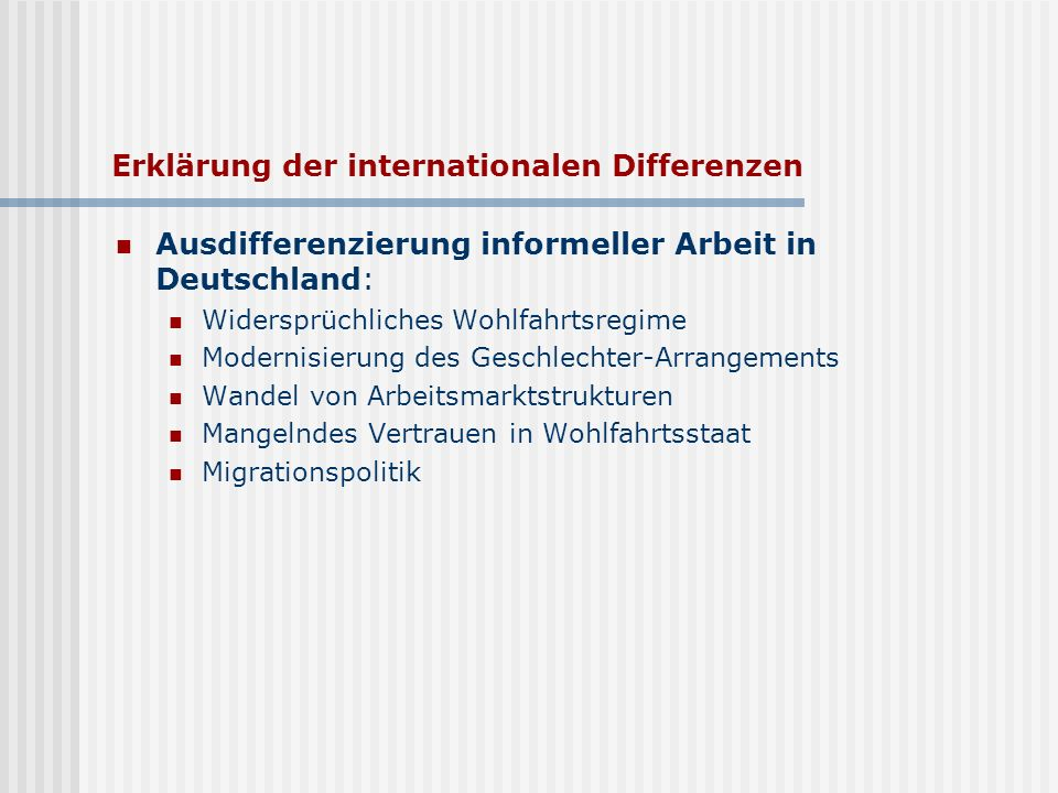 Erklärung der internationalen Differenzen