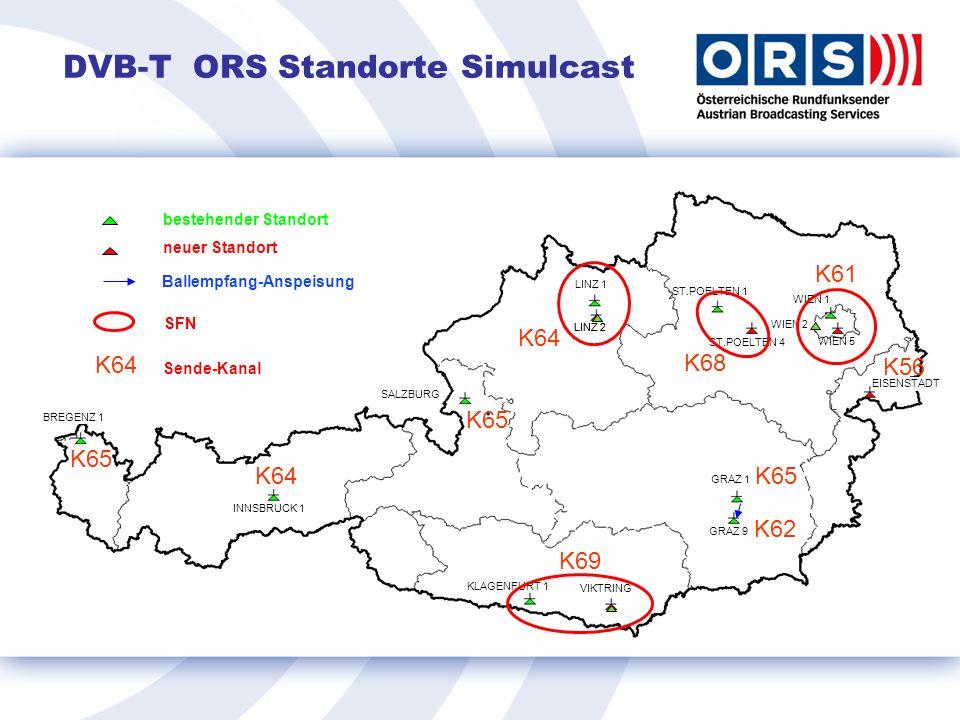 DVB-T ORS Standorte Simulcast