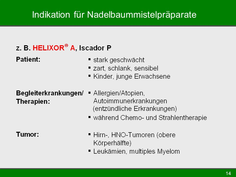 Indikation für Nadelbaummistelpräparate