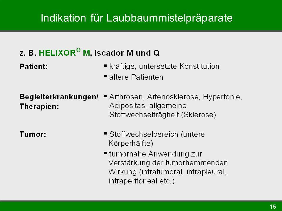 Indikation für Laubbaummistelpräparate