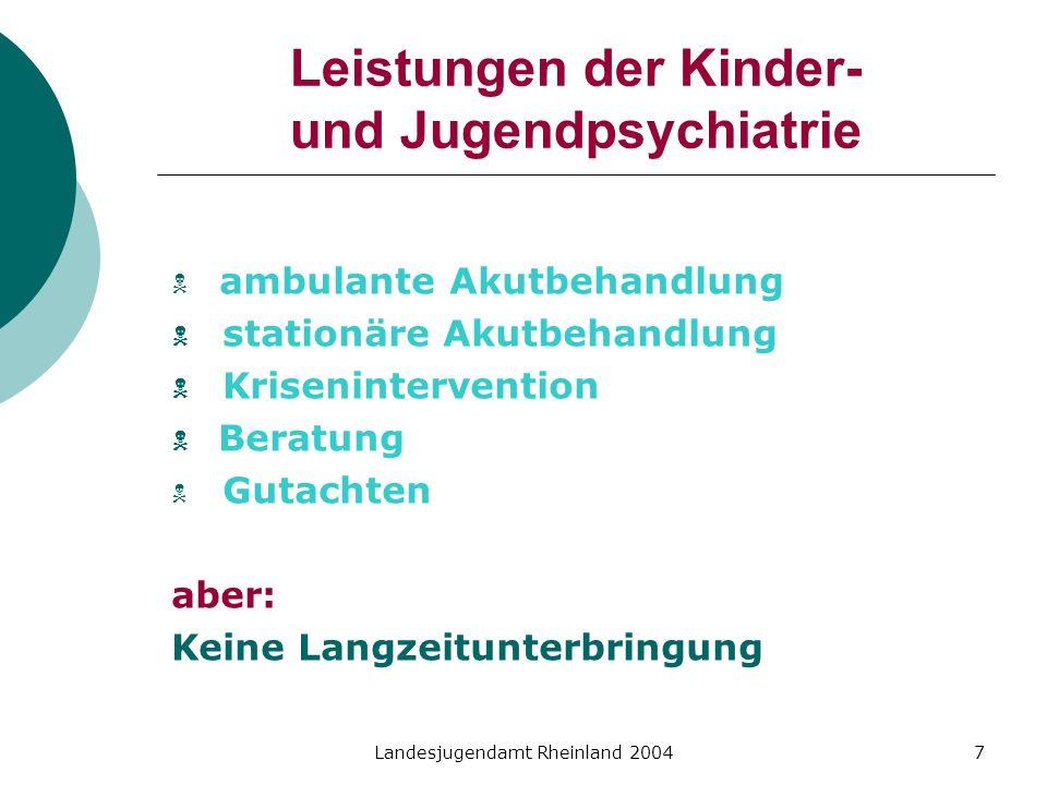 Leistungen der Kinder- und Jugendpsychiatrie
