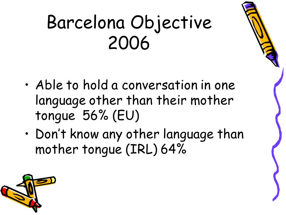 Barcelona Objective 2006Able to hold a conversation in one language other than their mother tongue 56% (EU)