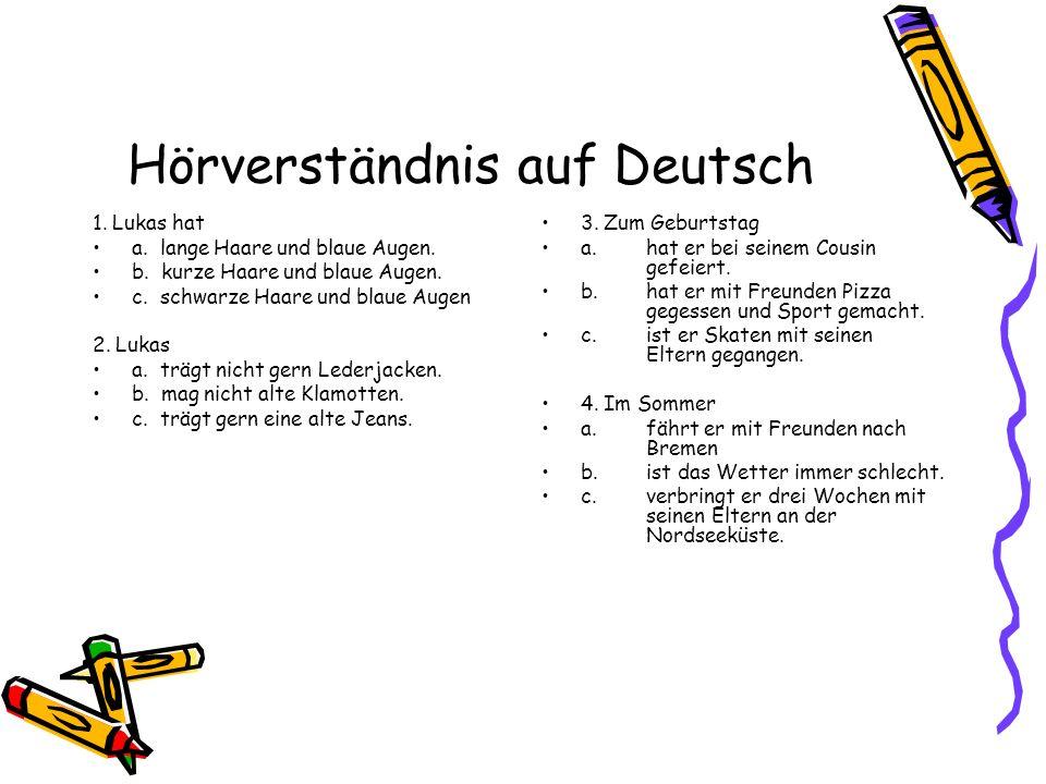 Hörverständnis auf Deutsch