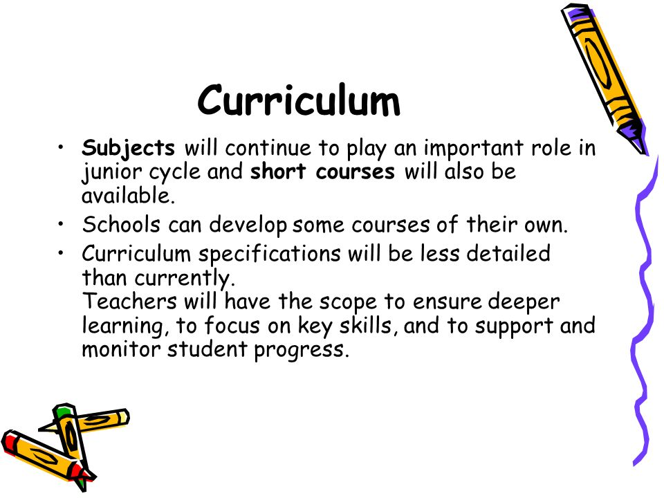 CurriculumSubjects will continue to play an important role in junior cycle and short courses will also be available.