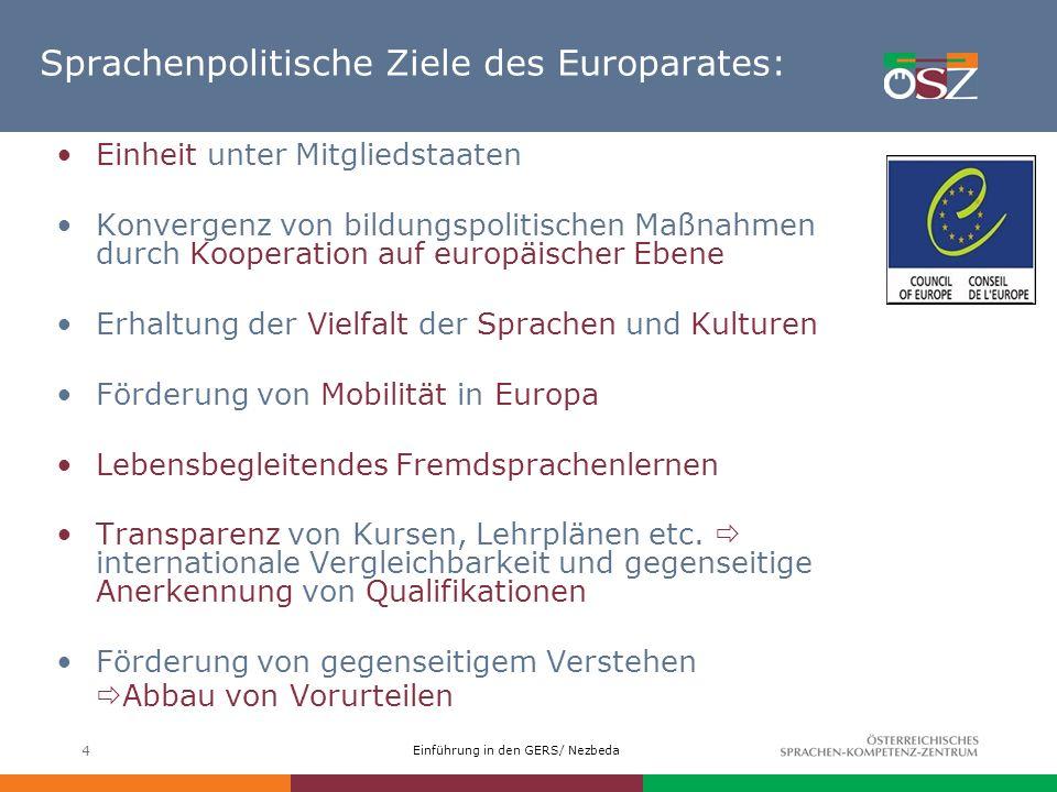 Sprachenpolitische Ziele des Europarates: