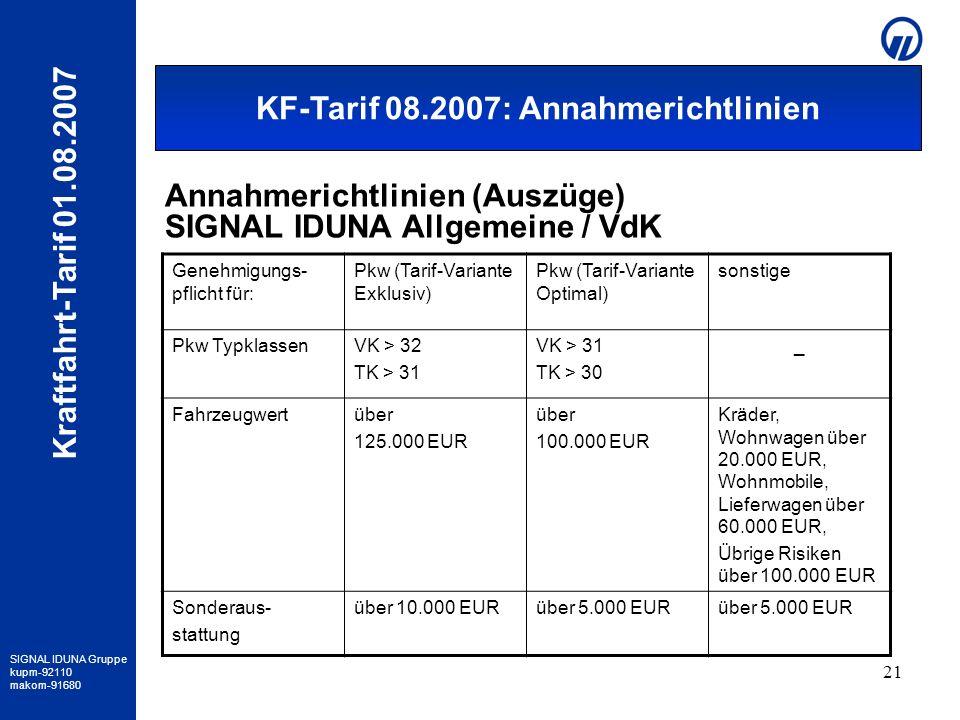 Annahmerichtlinien SIAV / VDK