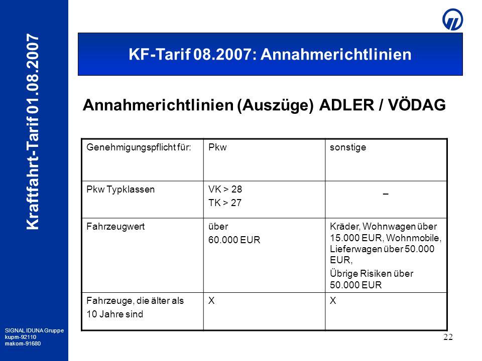Annahmerichtlinien (Auszüge) ADLER / VÖDAG