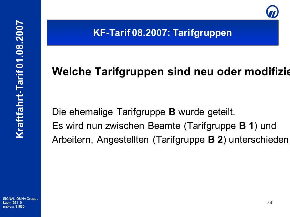 KF-Tarif 08.2007: Tarifgruppen