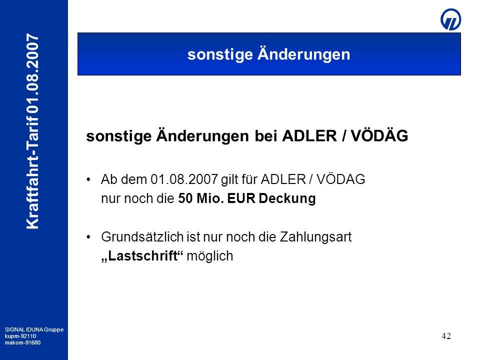 sonstige Änderungen bei ADLER / VÖDÄG