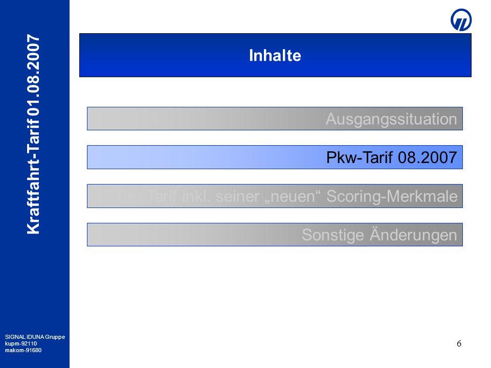 Inhalte Ausgangssituation. Pkw-Tarif 08.2007. Der Tarif inkl.