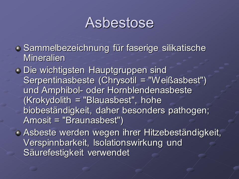 Asbestose Sammelbezeichnung für faserige silikatische Mineralien