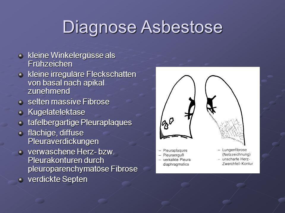 Diagnose Asbestose kleine Winkelergüsse als Frühzeichen