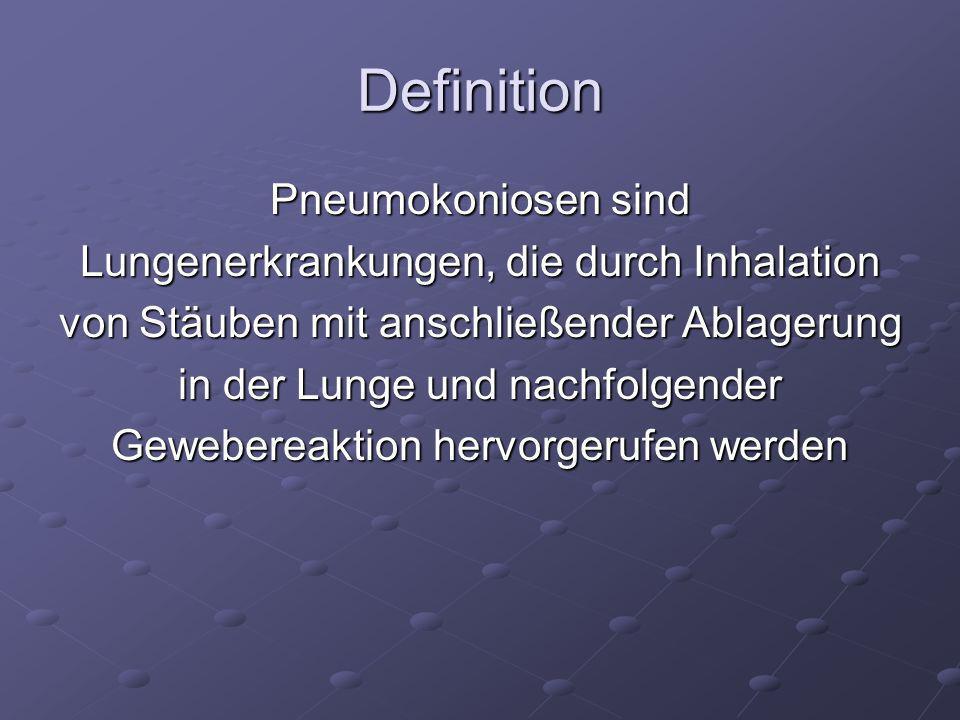 Definition Pneumokoniosen sind